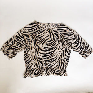 Ann Taylor Loft L Animal Print Knit Blouse Top